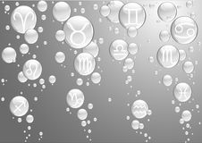 Bubbles With Zodiac Sings Stock Photo