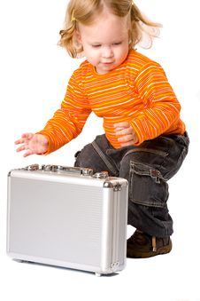 Close-up Of Pretty Baby With Suitcase, Royalty Free Stock Image