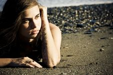 Free Green Eyed Beauty On The Beach Stock Photography - 6004862