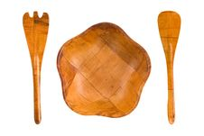 Free Wood Plate, Spoon And Fork Royalty Free Stock Images - 6005209