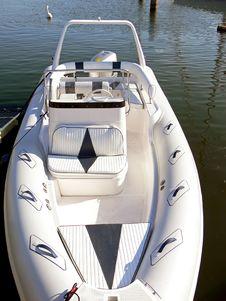 White Motor Boat Detail Royalty Free Stock Photo