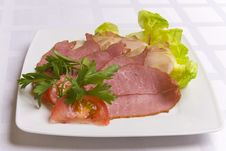 Free Ham Decorated With Salad, Tomato And Parsley Stock Images - 6007834