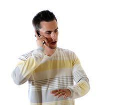 Free The Young Man With Phone Stock Photography - 6008262