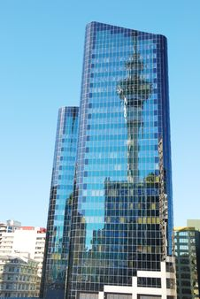 Free Skyscrapers On A Background Of The Blue Sky And Sk Royalty Free Stock Photos - 6008278