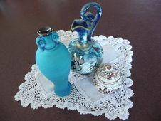 Greek Jug, Turquoise Vase & Greek Perfume Pot. Royalty Free Stock Photography