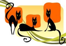 Three Black Cats Stock Photo