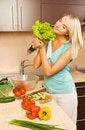 Free Woman Making Salad Stock Photo - 6010120