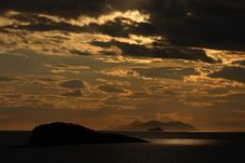 Bright Dramatic Sunset In Adriatic Sea Royalty Free Stock Photo