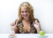 Free Cake Vs. Apple. Stock Photo - 6012400