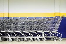 Free Line Of Shopping Carts Stock Photography - 6012652