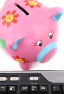Free Piggybank And Keyboard Stock Photography - 6014002