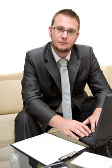 Free Man With Laptop Stock Photography - 6014342