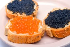 Free Sandwiches With Red And Black Fish Caviar 2 Royalty Free Stock Photos - 6014448