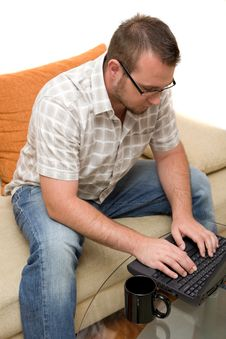 Free Man With Laptop Stock Image - 6014461