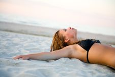 The Fine Girl On A Beach Stock Photography