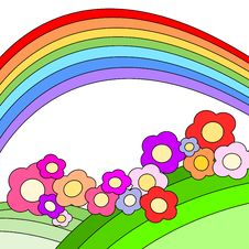 Free Meadow, Rainbow And Flowers Stock Photos - 6017213