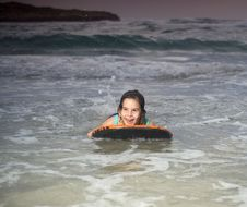 Girl Boogie Surf Board Royalty Free Stock Photos