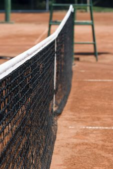 Tennis Net On The Tennis Clay Court Royalty Free Stock Photos