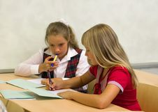 Free Schoolgirls Talking Stock Image - 6019591