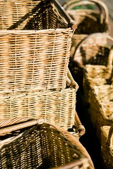 Free Wicker Baskets At A Country Market Stock Photos - 6021133