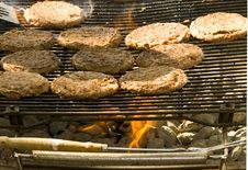 Hamburger On The Grill Royalty Free Stock Images
