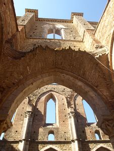 Glimpse Of Aisles Of San Galgano Royalty Free Stock Images