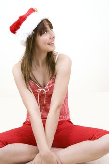 Free Teenager Girl With A Christmas Hat Stock Photo - 6025060