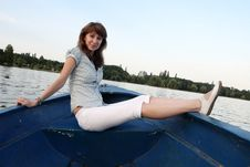 Free Girl Posing On A Boat Stock Photography - 6025182