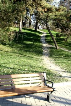Free Bench Under A Upward Alley Stock Photography - 6025242