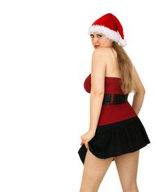 Sexy Mrs Santa Stock Photo