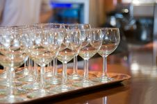 Wine Glass On Tray Stock Photo