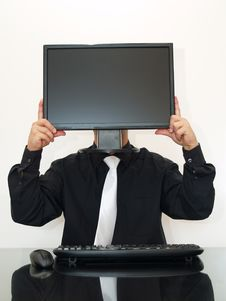 Free Businessman Holding A Computer Monitor Royalty Free Stock Photography - 6027497