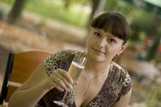 Free Beautiful Woman  With Champagne Glass Stock Images - 6029464