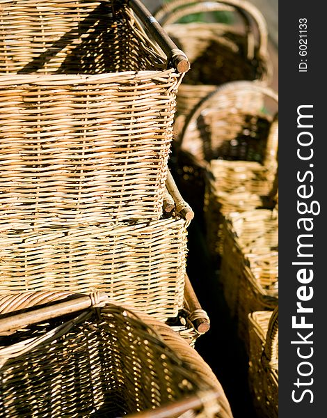 Wicker baskets at a country market