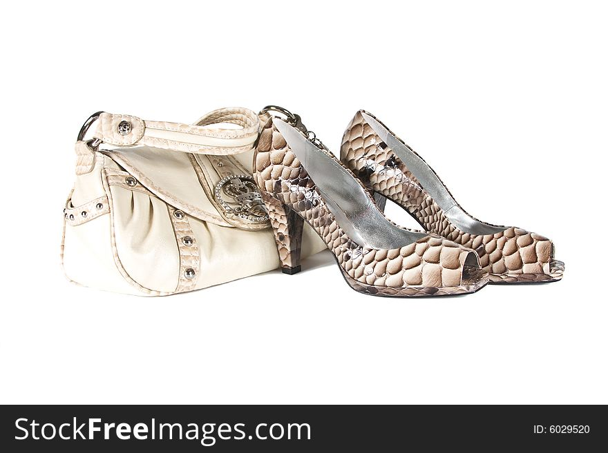 Beautiful female shoes from a leather with
