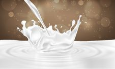 Pouring Milk Drink Splashing Into Milk Royalty Free Stock Images
