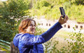 Free Young Girl Photographing Herself A Mobile Phone Royalty Free Stock Images - 60289559