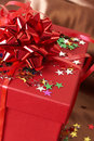 Free Red Gift Box With Bows And Stars Stock Photography - 6039142