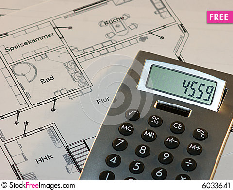 Calculator and a house plan free stock images photos for House plan calculator
