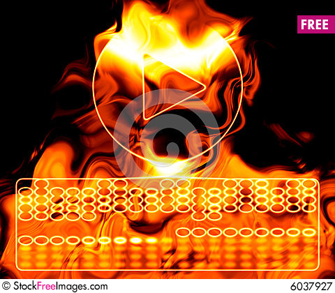 Free Play Button On Fire. Royalty Free Stock Photography - 6037927