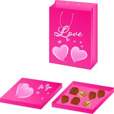 Free Pink Valentine Paper Packet With Chocolate Candy B Royalty Free Stock Photos - 6030248
