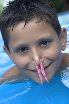 Free Young Boy In Pool Stock Photos - 6031223