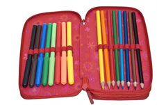 Free Case With Colour Pencils And Felt Pens Royalty Free Stock Photography - 6031387