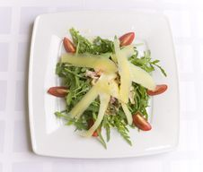 Salad With Cheese And Vegetables Stock Photo