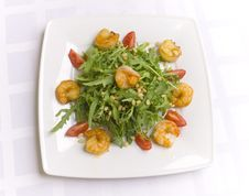 Salad With Herbs, Vegetables And Shrimps Stock Image
