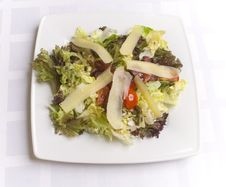 Salad With Cheese And Vegetables Stock Photography