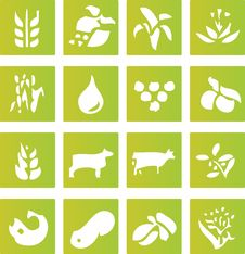 Green Farming Crop Icons