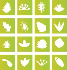 Green Leaf Icons Royalty Free Stock Photography