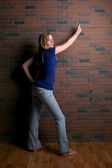 Free Woman Next To Brick Wall Stock Photo - 6032240