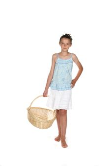 Pretty Girl Holding An Empty Basket Royalty Free Stock Photos